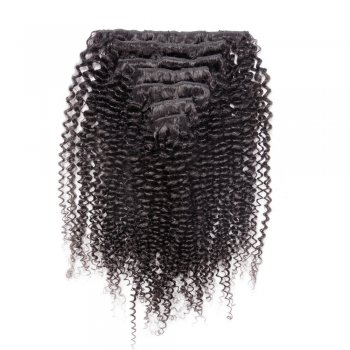 7pcs Kinky Curly Virgin Brazilian Clip in Hair #1B Natural Black