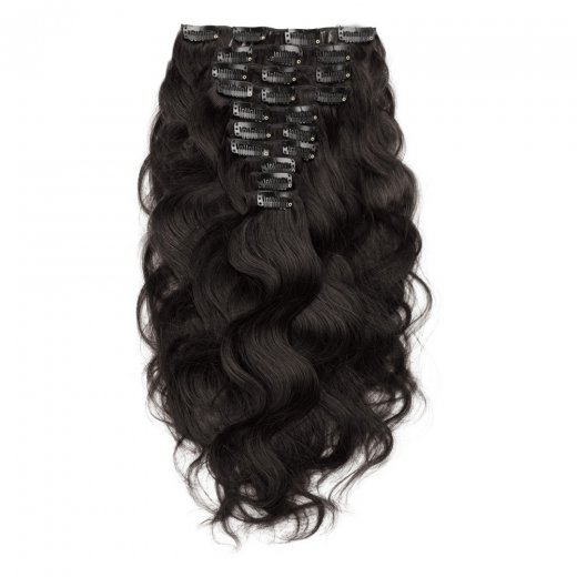 220g 24 Inch #1B Natural Black Body Wavy Clip In Hair