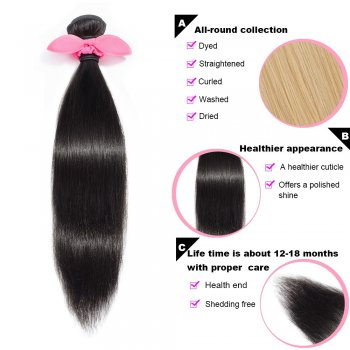 3 Bundles Straight Brazilian Virgin Hair 300g With 13*4 Straight Free Part Lace Frontal