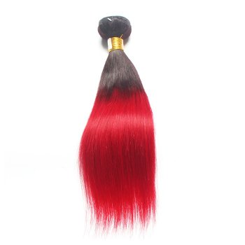 Newest Two Tone #1B/Red Ombre Hair Straight Indian Remy Human Hair 100g