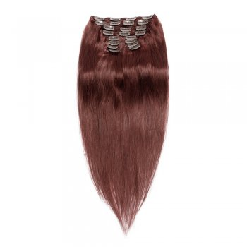 220g 24 Inch #33 Rich Copper Red Straight Clip In Hair