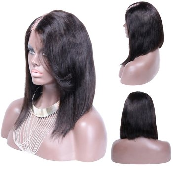 12 Inch #1B Straight Indian Remy Hair U part Wigs PWU30