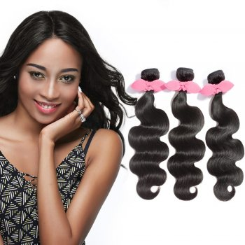 "10""-30"" 3 Bundles Body Wavy Virgin Brazilian Hair Natural Black 300g"