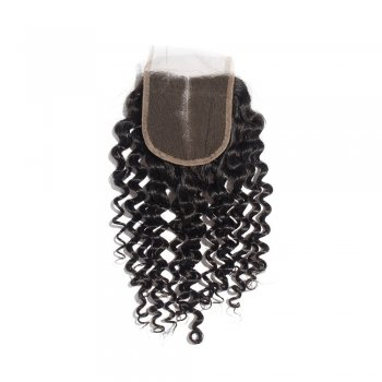 10-20 Inch Virgin Brazilian Hair Deep Curly 4*4 Hand Tied Middle Part Lace Top Closure
