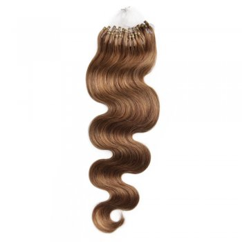 100s 1g/s Body Wavy Micro Loop Hair Extensions #8 Light Brown