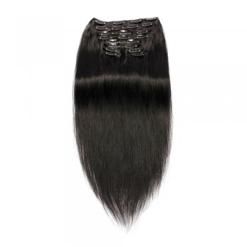 200g 22 Inch #1 Jet Black Straight Clip In Hair