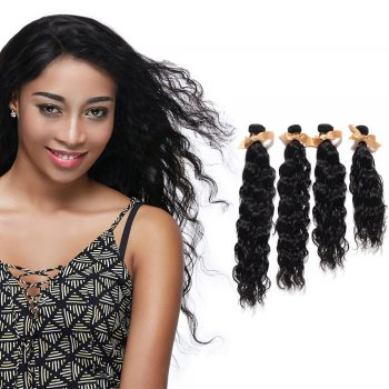 "10""-30"" 4 Bundles Natural Wavy Virgin Brazilian Hair Natural Black 400g"