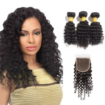 Virgin Deep Curly Indian Hair 3 Bundles with 4x4 Lace Closure