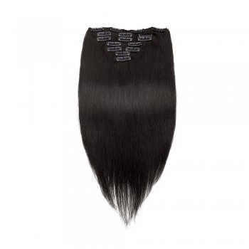 100g 18 Inch #1B Natural Black Straight Clip In Hair PC951