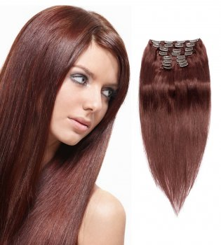 200g 22 Inch #33 Rich Copper Red Straight Clip In Hair