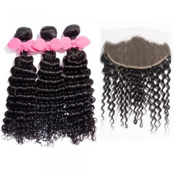3 Bundles Deep Curly Brazilian Virgin Hair 300g With 13*4 Deep Curly Free Part Lace Frontal