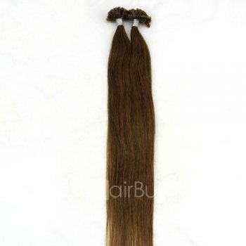 100s 1g/s Straight Nail/U Tip Remy Hair Extensions #8 Light Brown