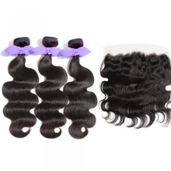 3 Bundles Body Wavy 8A Malaysian Virgin Hair 300g With 13*4 Free Part Lace Frontal