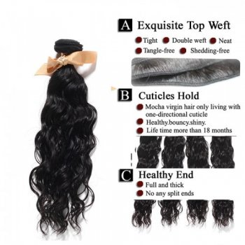 Virgin Natural Wavy Indian Hair 3 Bundles with 4x4 Lace Closure