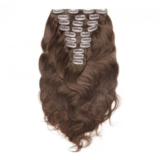 200g 22 Inch #4 Chocolate Brown Body Wavy Clip In Hair