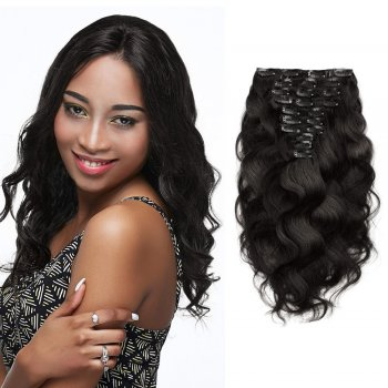 10pcs Body Wavy Virgin Brazilian Clip in Hair #1B Natural Black