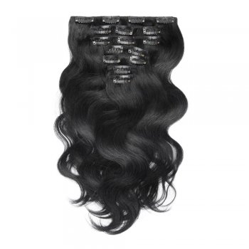 100g 18 Inch #1 Jet Black Body Wavy Clip In Hair PC945