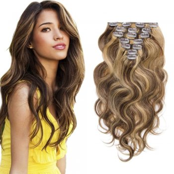 70g 16 Inch #4/27 Body Wavy Clip In Hair
