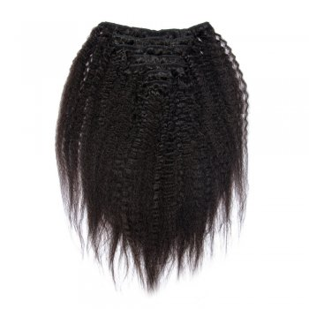 7pcs Kinky Straight Virgin Brazilian Clip in Hair #1B Natural Black