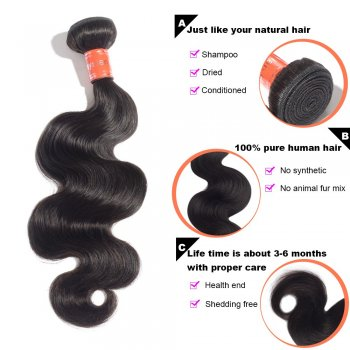 "10""-30"" 4 Bundles Body Wavy Virgin Malaysian Hair Natural Black 400g"