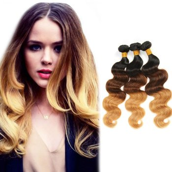 "16""-26"" #1B/4/27 3pcs/Lot Body Wavy Indian Remy Human Hair Ombre Hair"