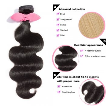 10 Inch - 30 Inch Virgin Brazilian Remy Hair Weft Body Wavy Natural Black 100g