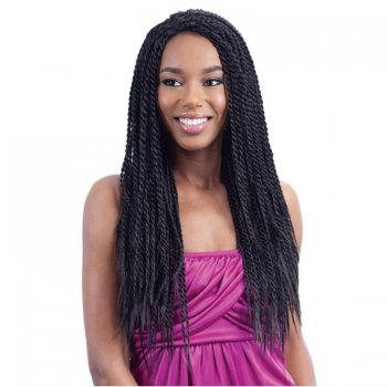 Lace Front Synthetic Hair Wig PWS20 Smooth Long Braid(#1B Natural Black)