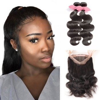 360 Lace Frontal Band with 2 Bundles Body Wavy 8A Brazilian Virgin Hair