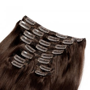 220g 24 Inch #2 Darkest Brown Straight Clip In Hair