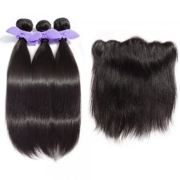 3 Bundles Straight 8A Malaysian Virgin Hair 300g With 13*4 Free Part Lace Frontal