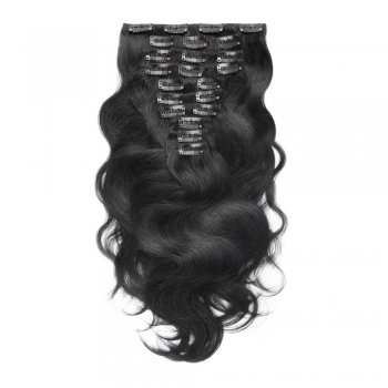 220g 24 Inch #1 Jet Black Body Wavy Clip In Hair