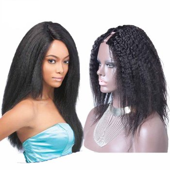 18 Inch #1B Yaki Indian Remy Hair U part Wigs PWU07