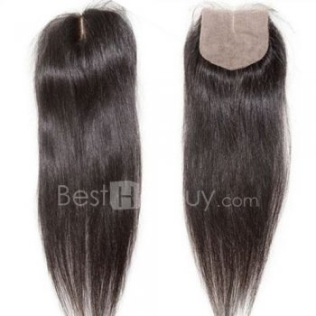 4*4 Straight Natural Black (#1B) Middle Part Virgin Braizilian Silk Base Closure