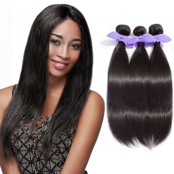 3 Bundles Straight 8A Malaysian Virgin Hair Natural Black 300g