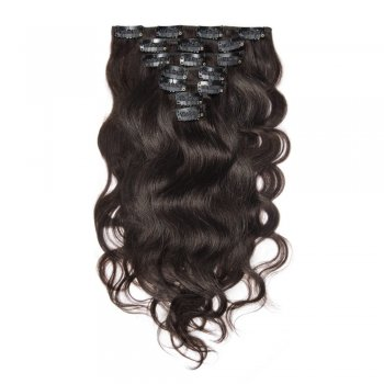 100g 18 Inch #2 Darkest Brown Body Wavy Clip In Hair