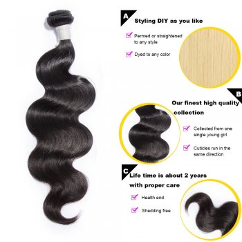 3 Bundles Body Wavy Diamond Virgin Hair 300g With 4*4 Body Wavy Free Part Lace Closure