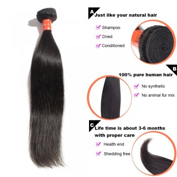 3 Bundles Straight Malaysian Virgin Hair 300g With 4*4 Straight Free Part Closure