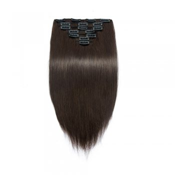 70g 16 Inch #2 Darkest Brown Straight Clip In Hair