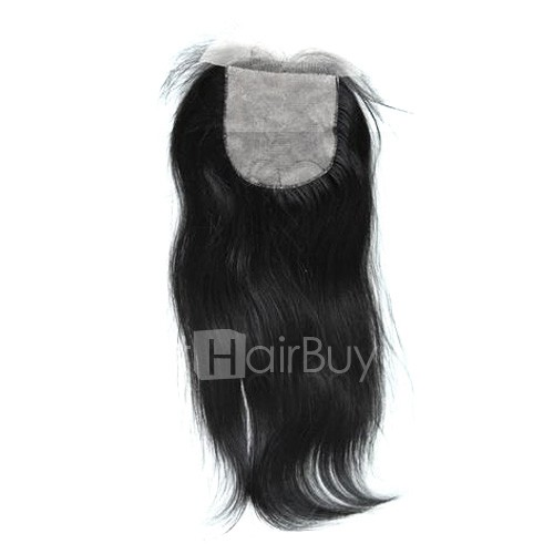 4 x 4 Natural Black (#1B) Straight Virgin Brazilian Free Parted Silk Base Lace Closure