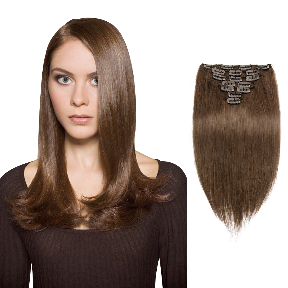70g 16 Inch #4 Chocolate Brown Straight Clip In Hair PC943